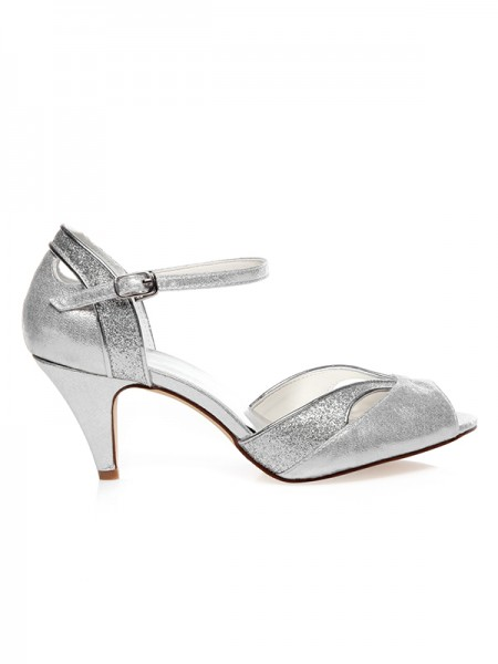 Women's PU Peep Toe Buckle Cone Heel Wedding Shoes