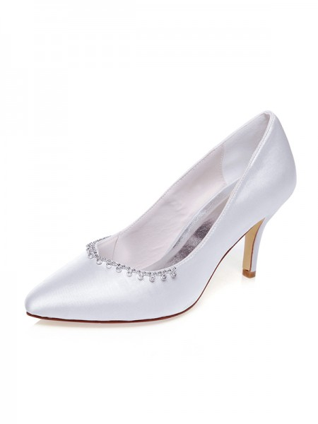 Women's Satijn Closed Toe Kralenwerk Stiletto Heel Wedding Shoes