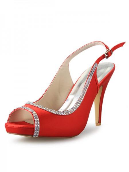 Women's Satijn Platform Cone Heel Peep Toe With Bergkristal Red Wedding Shoes