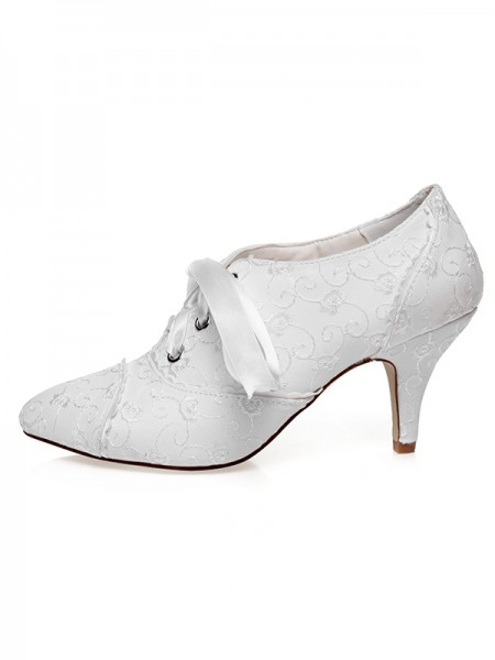 Women's Satijn Closed Toe Silk Cone Heel Wedding Shoes