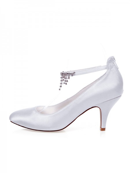 Women's Satijn Closed Toe Kralenwerk Spool Heel Wedding Shoes