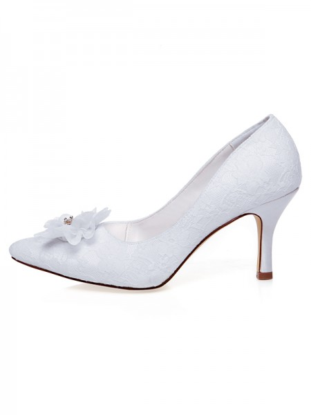 Women's Satijn Closed Toe Flower Spool Heel Wedding Shoes