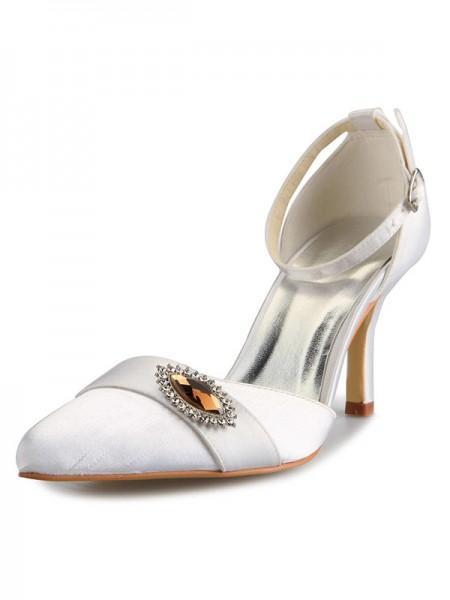 Women's Mary Jane Satijn Stiletto Heel Closed Toe With Bergkristal White Wedding Shoes