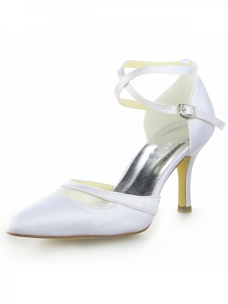 Women's White Satijn Closed Toe Spool Heel With Buckle White Wedding Shoes