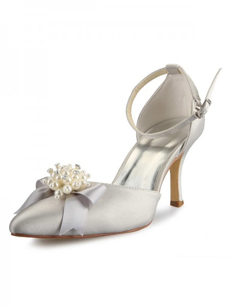 Women's Spool Heel Satijn Closed Toe With Pearl Strik White Wedding Shoes