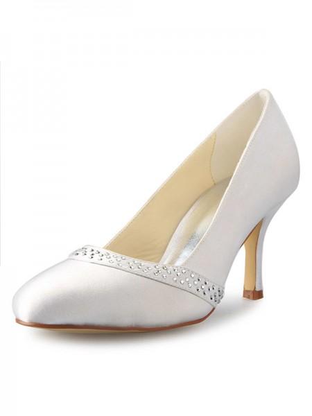 Women's Stiletto Heel Closed Toe Satijn With Bergkristal White Wedding Shoes