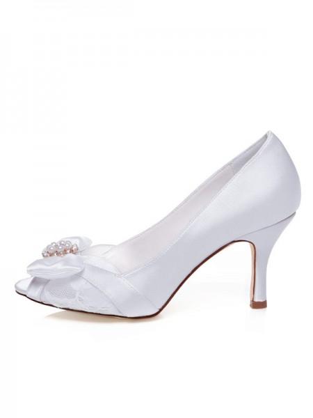 Women's Satijn Peep Toe Stiletto Heel Strik Wedding Shoes