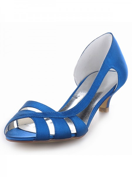 Women's Satijn Peep Toe Kitten Heel Sandals Shoes