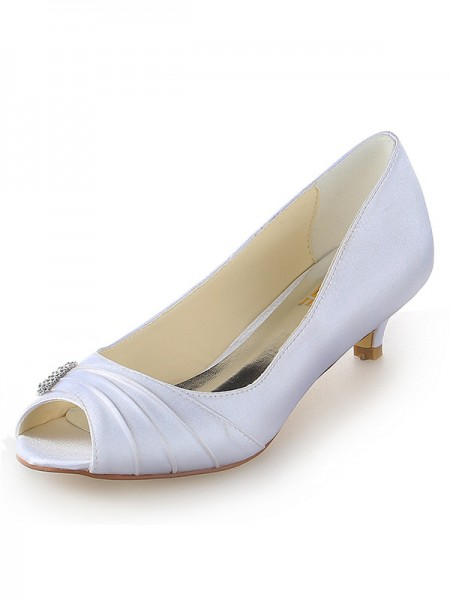 Women's Satijn Peep Toe Kitten Heel With Bergkristal White Wedding Shoes