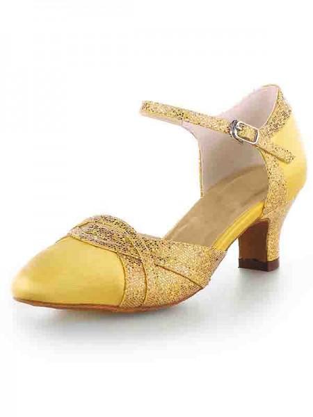 Women's Satijn Closed Toe Chunky Heel With Sparkling Glitter High Heels