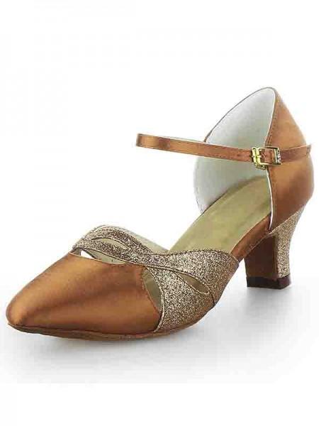 Women's Satijn Closed Toe Chunky Heel Buckle Sparkling Glitter Dance Shoes