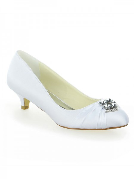Women's Satijn Kant Platform Closed Toe With Strik Kitten Heel White Wedding Shoes
