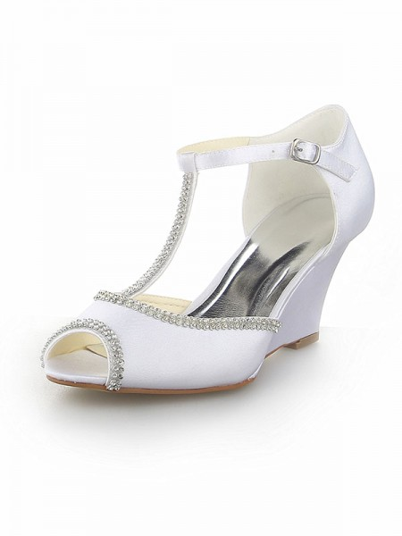 Women's Peep Toe T-Strap With Bergkristal Satijn Wedge Heel White Wedding Shoes