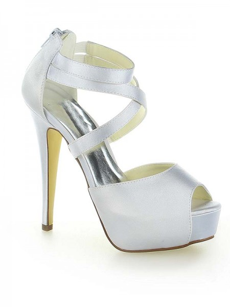 Women's Satijn Platform Peep Toe With Zipper Stiletto Heel White Wedding Shoes
