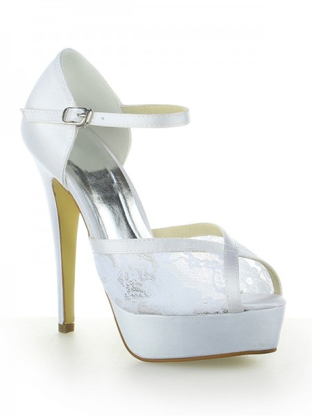 Women's Satijn Kant Platform Peep Toe With Buckle Stiletto Heel White Wedding Shoes