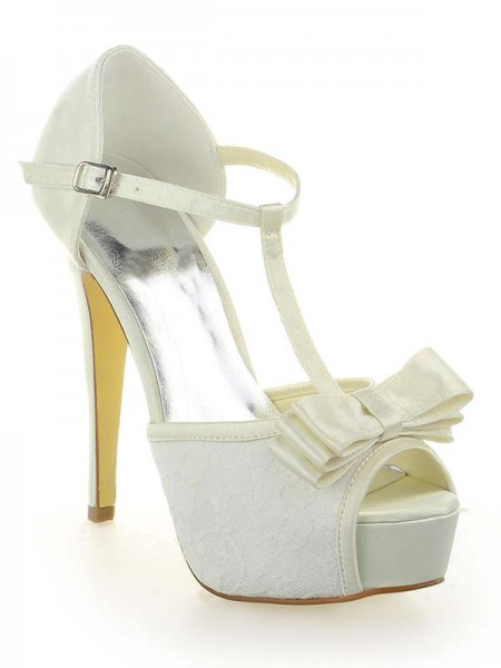 Women's Satijn Kant Platform Peep Toe With Strik Stiletto Heel White Wedding Shoes