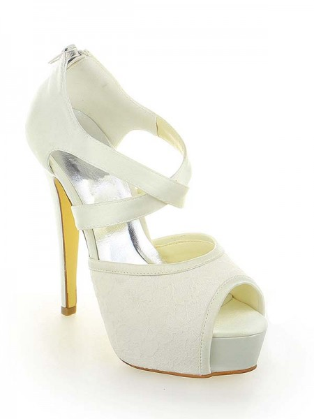 Women's Satijn Kant Platform Peep Toe Stiletto Heel With Zipper White Wedding Shoes