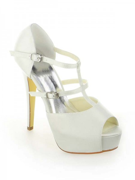 Women's Satijn Platform Peep Toe Stiletto Heel With Buckle White Wedding Shoes