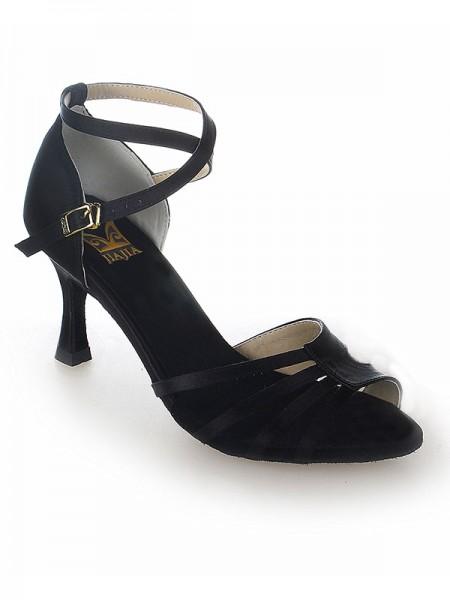 Women's Peep Toe Satijn Stiletto Heel Buckle Dance Shoes