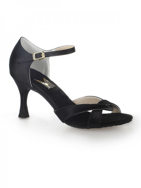 Women's Satijn Peep Toe Stiletto Heel Buckle Dance Shoes