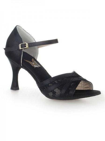 Women's Peep Toe Stiletto Heel Satijn Buckle Dance Shoes