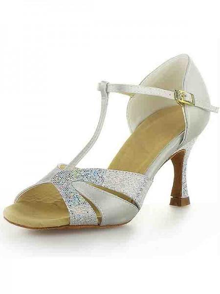 Women's Satijn Stiletto Heel Peep Toe Buckle Sparkling Glitter Dance Shoes