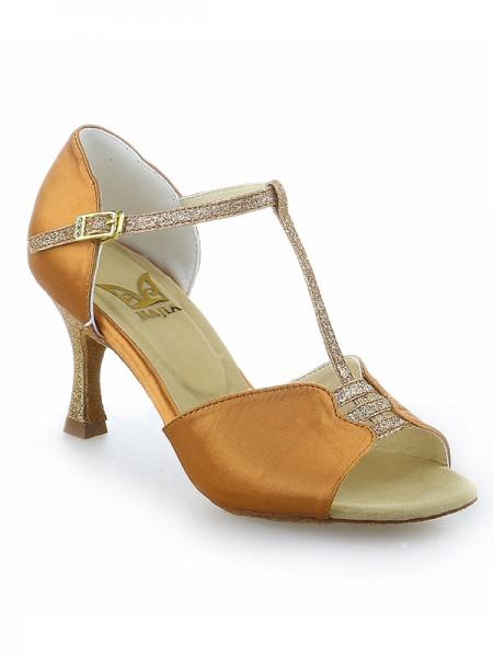 Women's Stiletto Heel Buckle Peep Toe Satijn Dance Shoes
