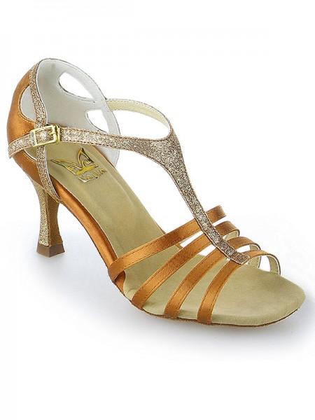 Women's Peep Toe Buckle Stiletto Heel Satijn Dance Shoes