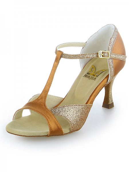 Women's Satijn Peep Toe Sparkling Glitter Stiletto Heel Dance Shoes