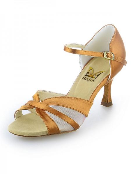Women's Satijn Peep Toe Buckle Stiletto Heel Dance Shoes