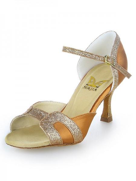Women's Stiletto Heel Satijn Peep Toe Sparkling Glitter Dance Shoes