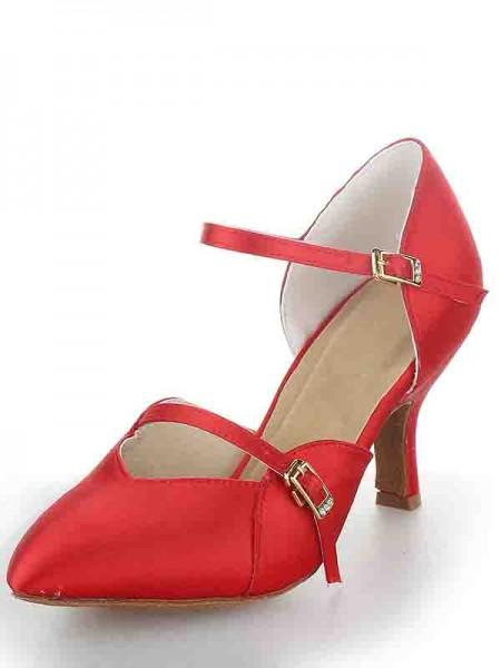 Women's Stiletto Heel Satijn Closed Toe Buckle Dance Shoes