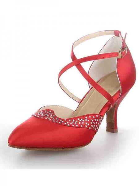 Women's Satijn Closed Toe Stiletto Heel Buckle Dance Shoes