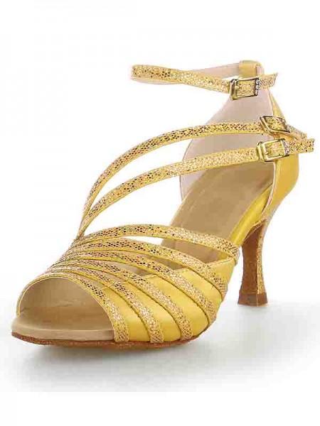 Women's Peep Toe Stiletto Heel Satijn Sparkling Glitter Dance Shoes