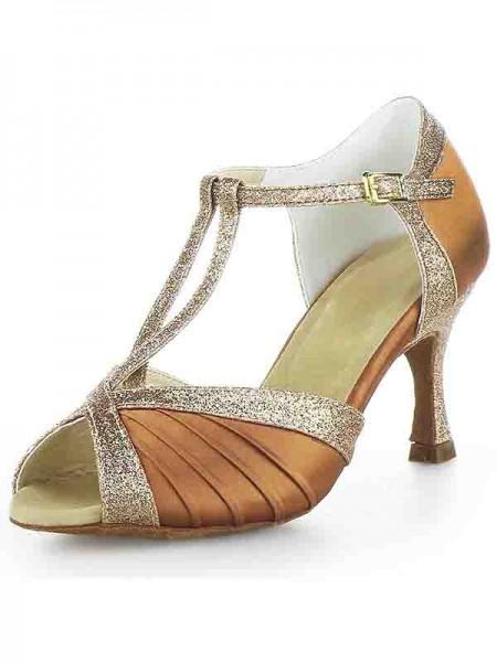 Women's Stiletto Heel Satijn Peep Toe Buckle Sparkling Glitter Dance Shoes