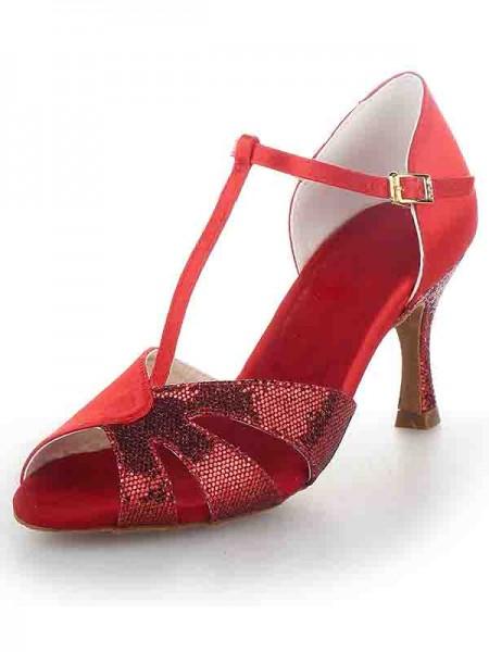 Women's T-Strap Peep Toe Stiletto Heel Satijn Sparkling Glitter Dance Shoes