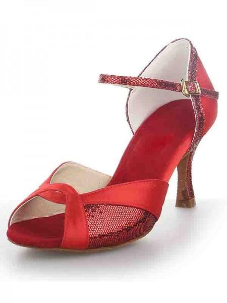 Women's Satijn Peep Toe Stiletto Heel Sparkling Glitter Dance Shoes