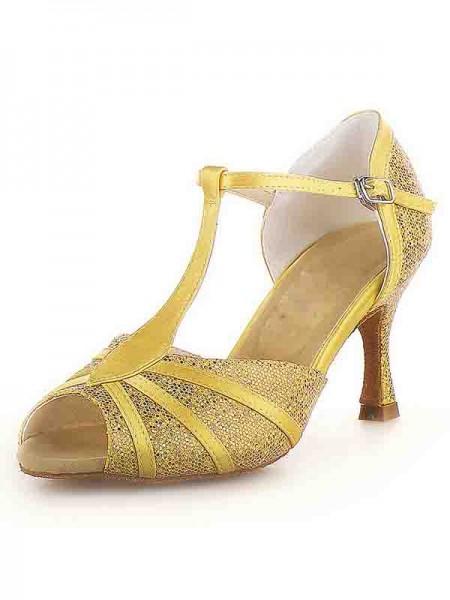 Women's Peep Toe Stiletto Heel Satijn Buckle Sparkling Glitter Dance Shoes