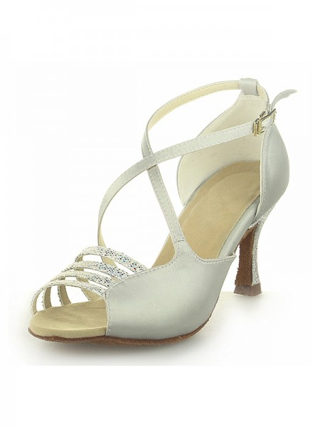 Women's Peep Toe Satijn Spool Heel With Buckle Ivory Wedding Shoes