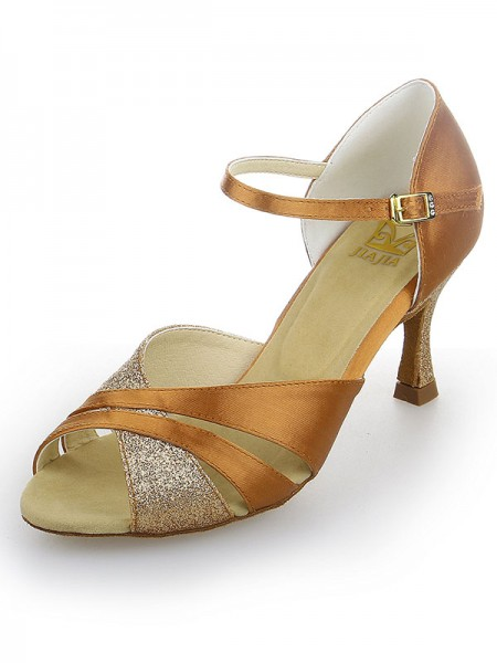 Women's Peep Toe Satijn Stiletto Heel Sparkling Glitter Dance Shoes
