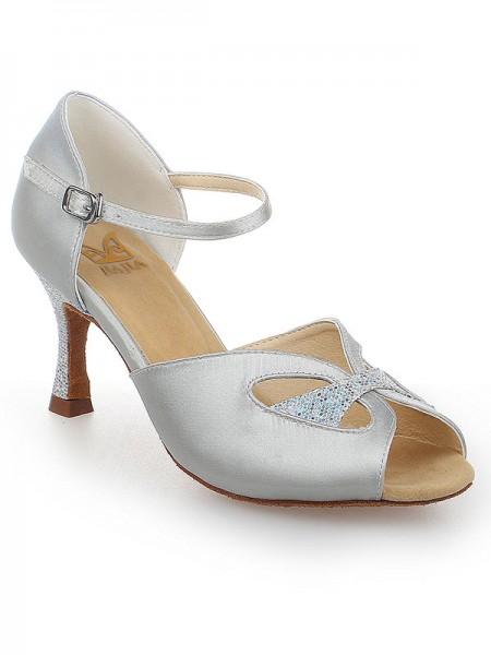 Women's Peep Toe With Buckle Satijn Stiletto Heel Dance Shoes