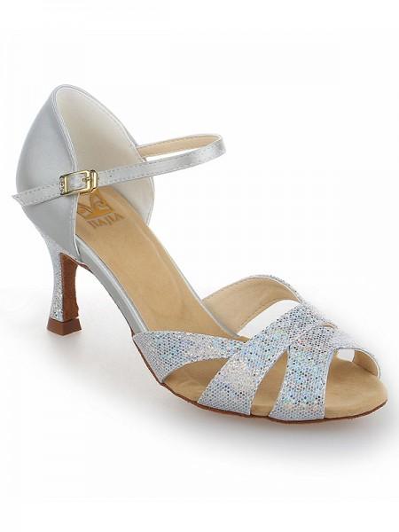 Women's Satijn Stiletto Heel Peep Toe With Sparkling Glitter Dance Shoes