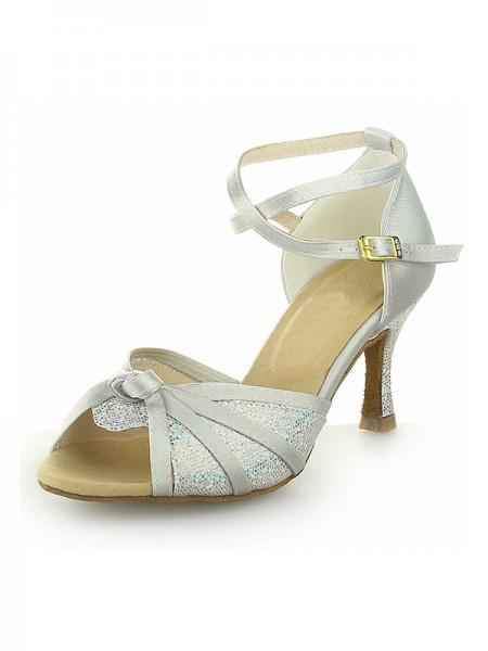 Women's Peep Toe With Sparkling Glitter Satijn Stiletto Heel Dance Shoes