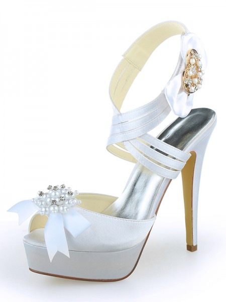 Women's Satijn Peep Toe Platform Stiletto Heel With Pearl White Wedding Shoes