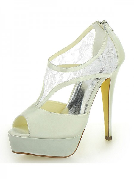 Women's Stiletto Heel Satijn Platform Peep Toe With Zipper Ivory Wedding Shoes