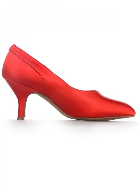Women's Red Closed Toe Cone Heel Satijn High Heels