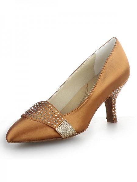 Women's Satijn Closed Toe Cone Heel With Bergkristal High Heels