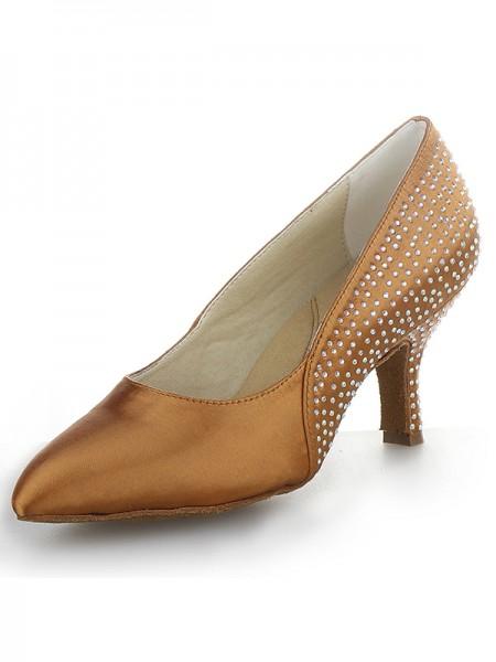 Women's Cone Heel Satijn Closed Toe With Bergkristal High Heels