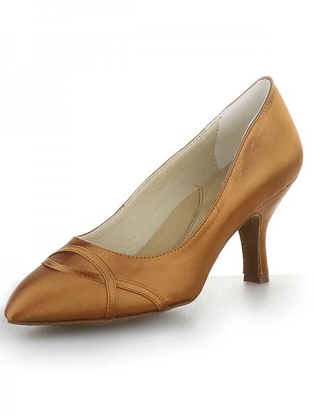 Women's Closed Toe Satijn Cone Heel High Heels