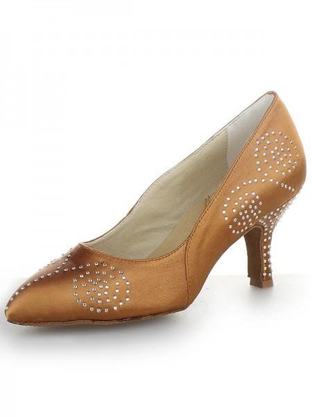 Women's Closed Toe Satijn Cone Heel With Bergkristal High Heels